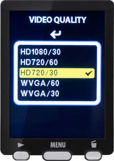 Q3HD Video Quality Menu