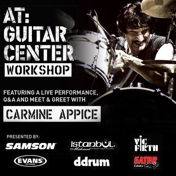 carmine appice at guitar center workshop tour samson technologies. Black Bedroom Furniture Sets. Home Design Ideas